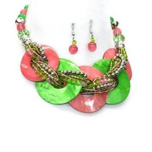 Jewelry - AKA Sorority Color PINK & GREEN SET